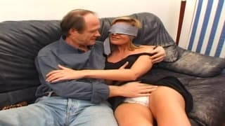Blindfolded blonde makes old guy very happy