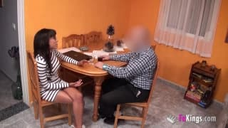 This young slut seduces him for sex