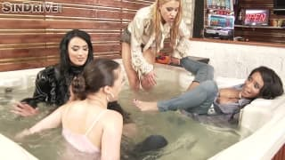 Four beautiful actresses fuck each other