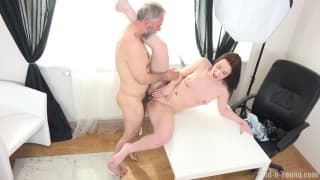 An old guy pleasures a young girl!