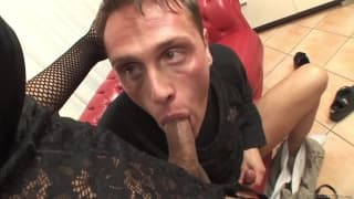 Andrea B shoves her dick in his mouth!