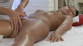 A blonde masseuse pleasures her client