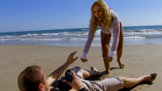 Ginger Hell and Leo Galvez fuck on the beach