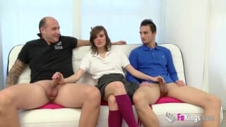 A porn casting with a Spanish slut in a trio