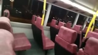 Two men wank each other off on the bus
