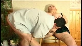 A BBW cougar makes the most of this cock