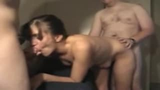 A redhead slut gets a double penetration