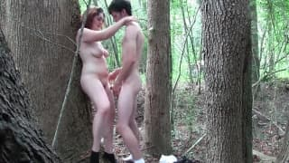 Chubby slut drilled in the woods