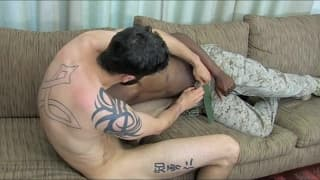 Military guys exchanging blowjobs with facial
