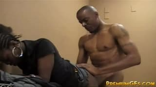 A young black girlfriend getting banged