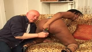 A hot black chick takes it in the ass!