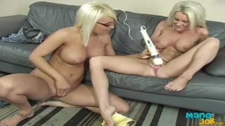 Jacky and Brandi share a handjob