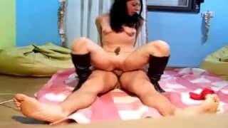 A confident woman bounces hard on him
