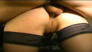 French babe in an anal sex porn casting
