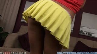 Blowjob by a beautiful skinny teen in POV