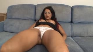 This brunette likes hard fucking on the couch