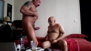 Two mature gay men fuck hard on camera