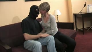 She fucks a man with a mask as it excites her