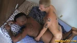 A black bitch gets nailed by her boyfriend