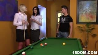 Two dominating women enjoy the same dick