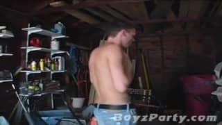 Jared Long grabs his dick and masturbates