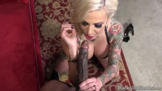 Vyxen Steel enjoys two big black dicks