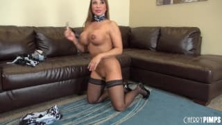 Ava Devine uses a huge dildo to masturbate