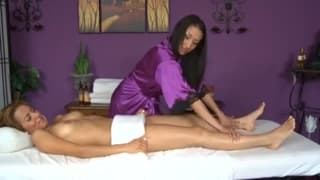 2 babes pleasure each other after a massage