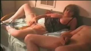 She smokes a cigarette before sucking him off