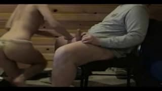 A couple fucking hard on a chair