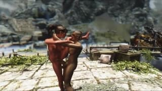 Transsexuals fucking in a video game