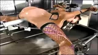 A slut is tied up and nailed in stockings