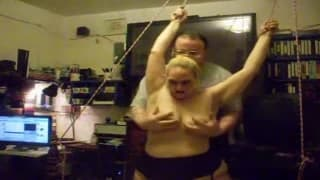 Chubby blonde is tied up and played with