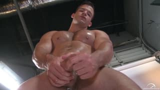 Angel Rock wanks his dick off for us