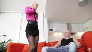 Blonde slut makes him cum on her