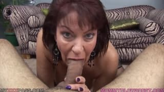 MILF sucks black cock to avenge her hubby