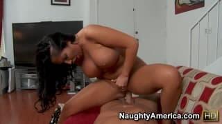 Big tit brunette bounces on his hard dick