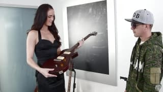Bianca Breeze sucks cock deep for a guitar