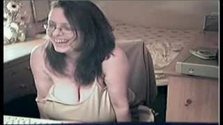 Horny nerd with big tits gets excited on cam