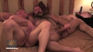 Two gay bears bang each other bareback