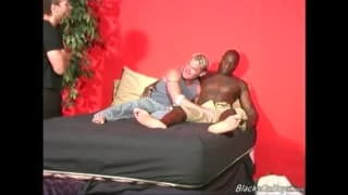 An interracial sodomy session in bed