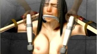 Hentai bondage scene with brunette slut