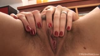 She has a hairy pussy to get wet for us