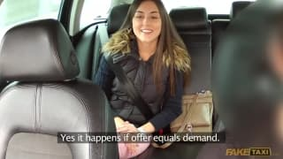 This brunette wants to fuck the taxi man
