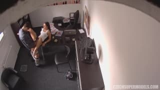 She gets fucked hard in the office
