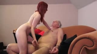 Hot redhead bangs an old man