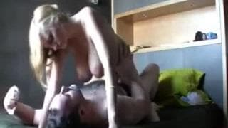 Hot blonde fucks in bed then gets a facial