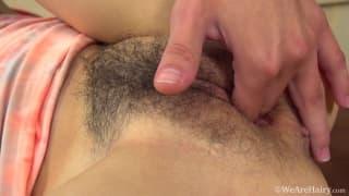 Jennifer Tate masturbates her hairy cunt