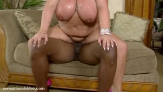 BBW takes black cock in living room