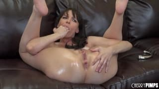 Dana DeArmond loves to masturbate on the sofa